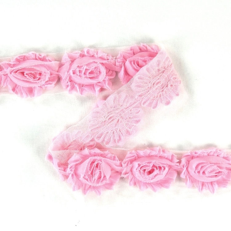 Tulle tape with roses, rose 60 mm