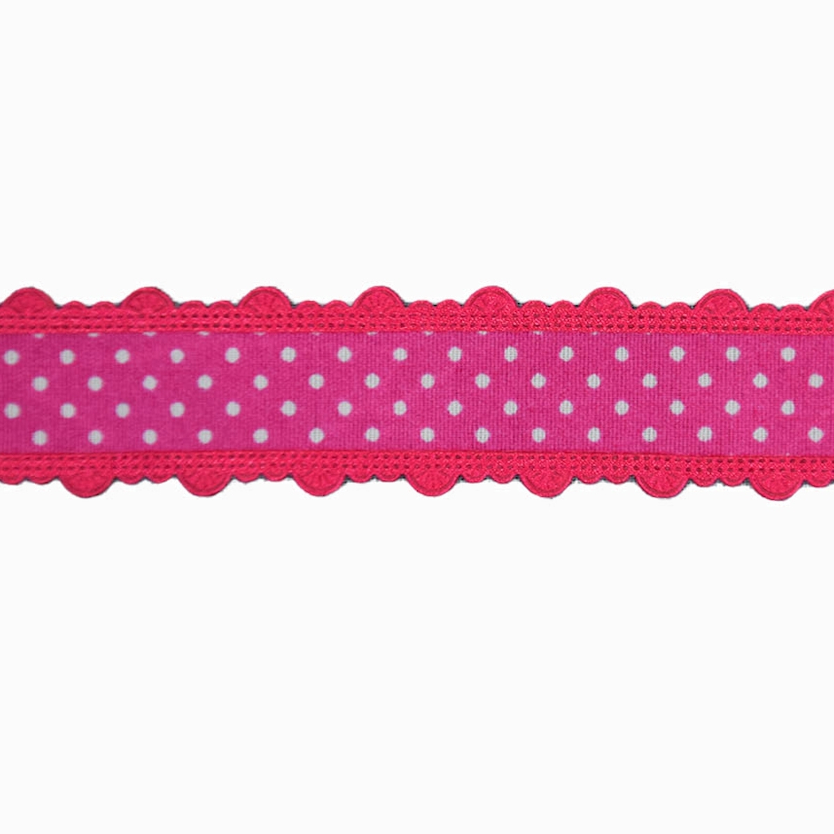 Dots Ribbon with border, pink 25 mm | 10556 | pink