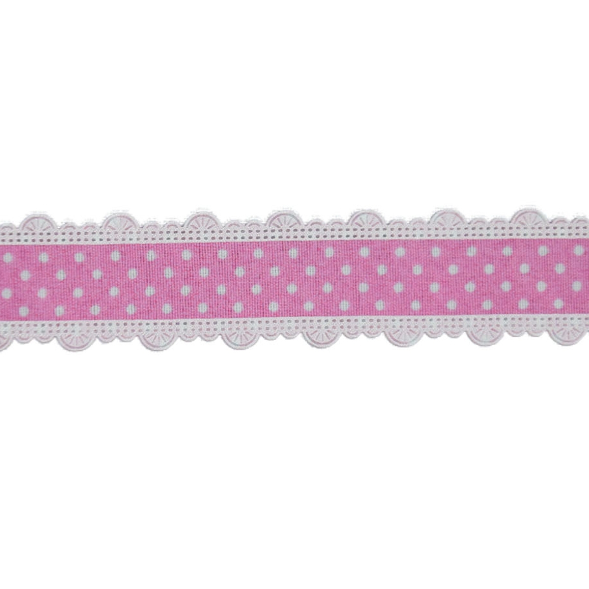 Dots Ribbon with border, rose 25 mm | 10555 | rosa
