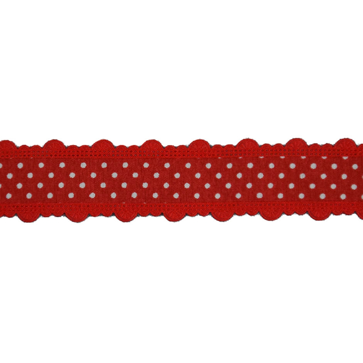 Dots Ribbon with border, red 25 mm