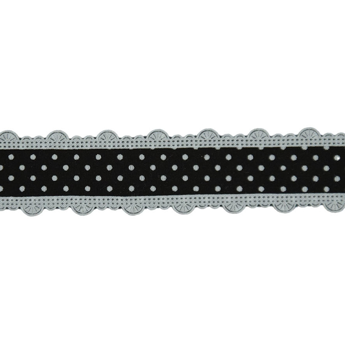 Dots Ribbon with border, black-silver 25 mm | 10557 | schwarz
