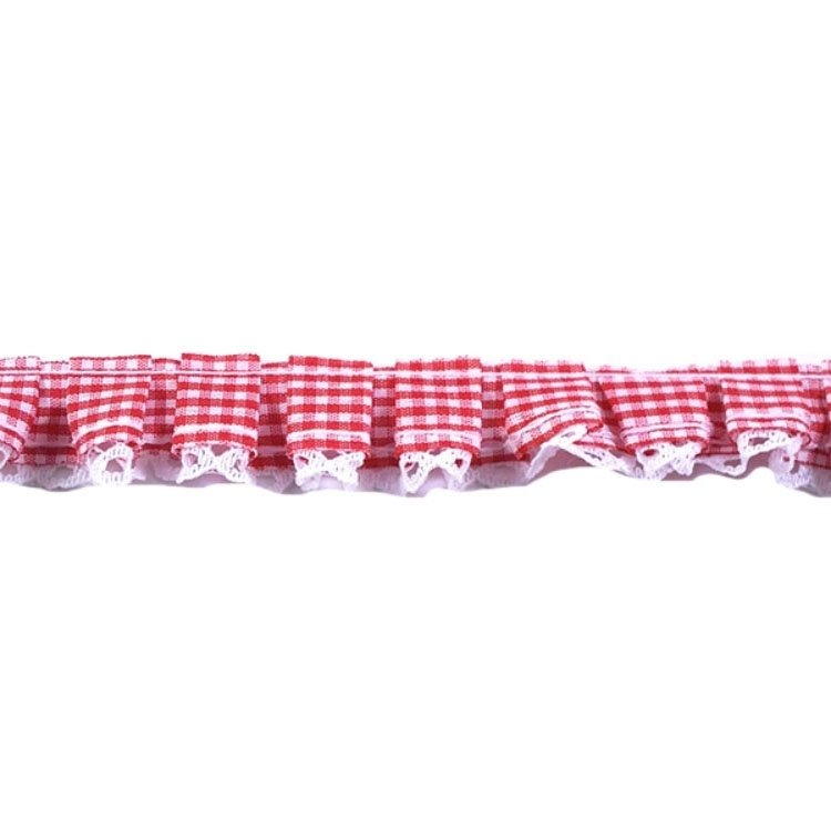 Frilled ribbon Gingham check with lace, red
