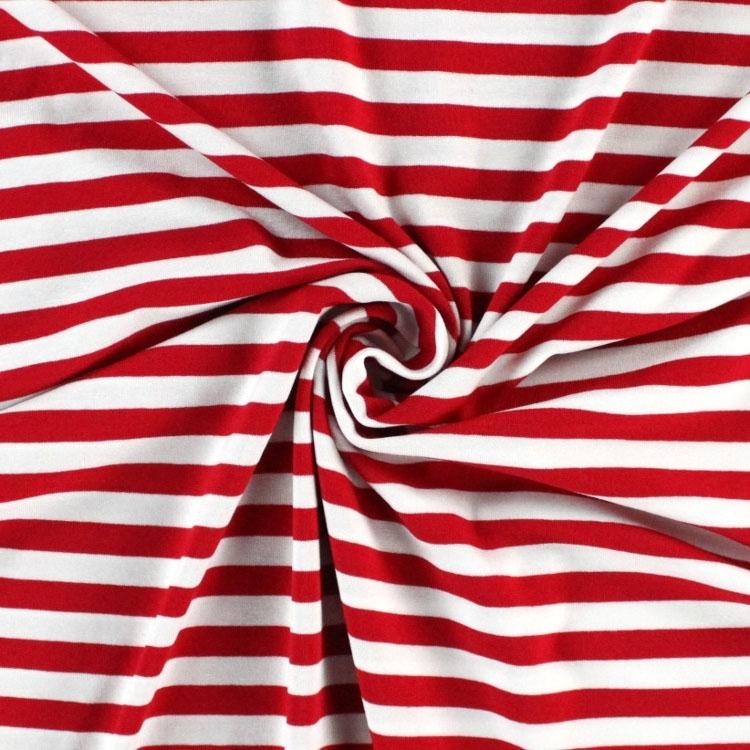 Viskosejersey Streifen breit, rot