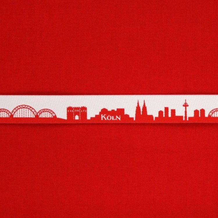 Woven ribbon My home skyline COLOGNE red / white