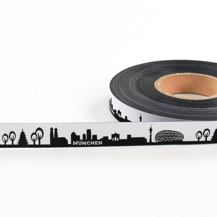 Woven ribbon My home skyline MUNICH black / white
