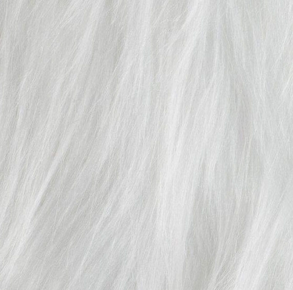 Faux fur long hair, white