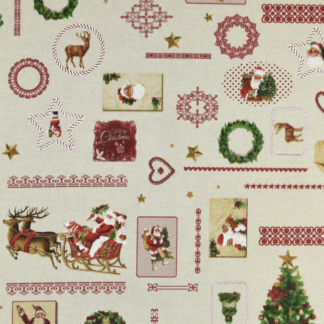 Festlicher Dekostoff mit Weihnachtsmotiven