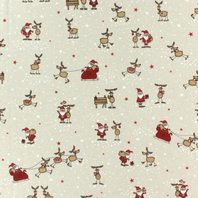 Weihnachtsstoff mit Rentieren und Weihnachtsmännern