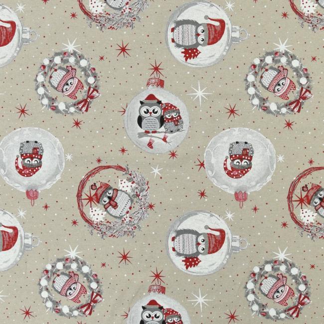 Weihnachtlicher Dekostoff mit Eulen