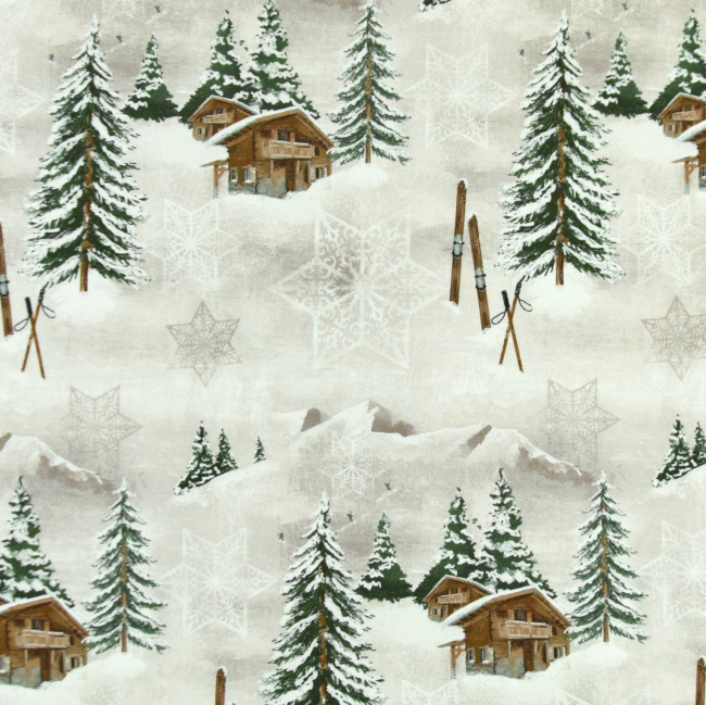 Dekostoff mit verschneiter Landschaft