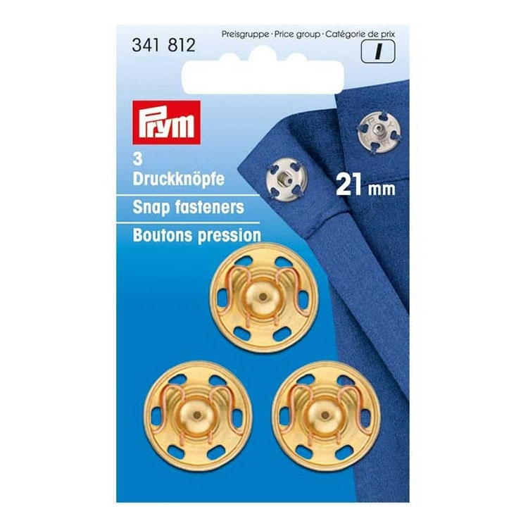 Silver 3 Pieces 21mm Brass Sew-on snap Fasteners