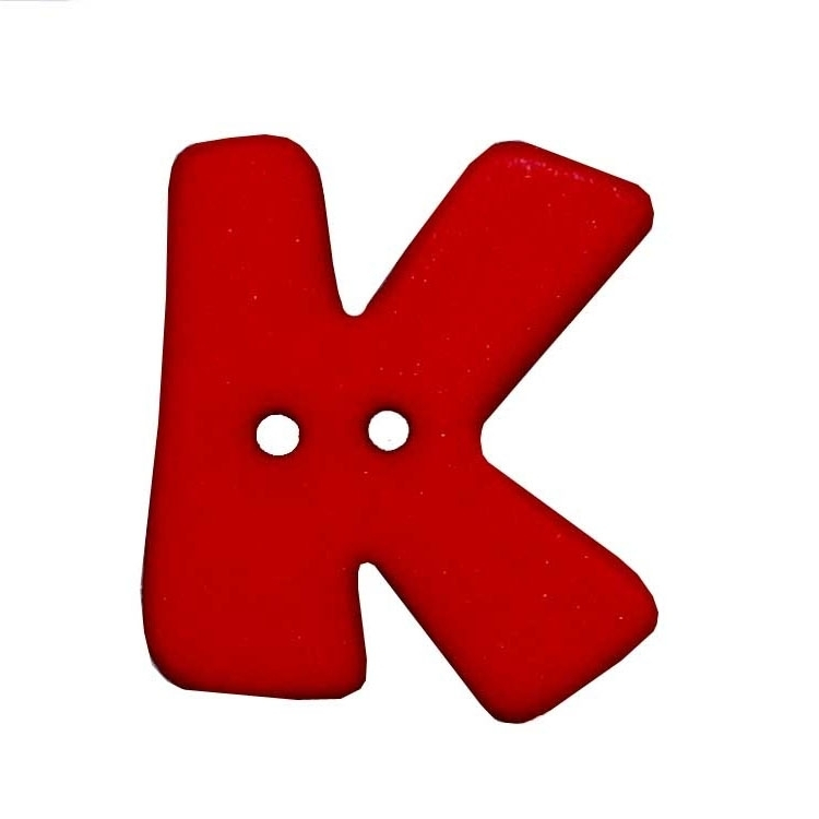 Roter 2-Loch-Buchstabenknopf 'K'