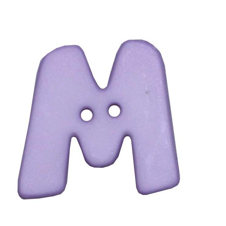 Fliederfarbener 2-Loch-Buchstabenknopf 'M'
