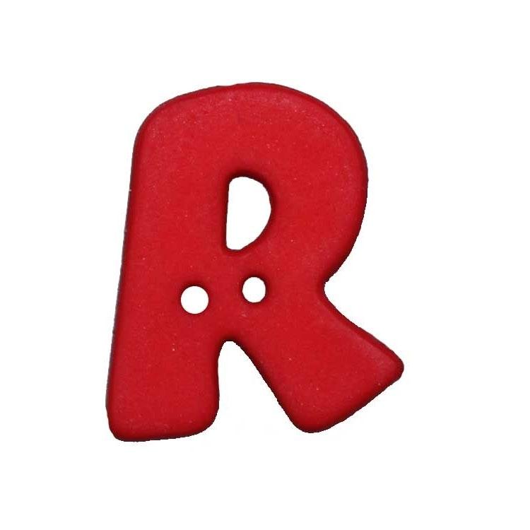 Bouton Lettre, R, rouge