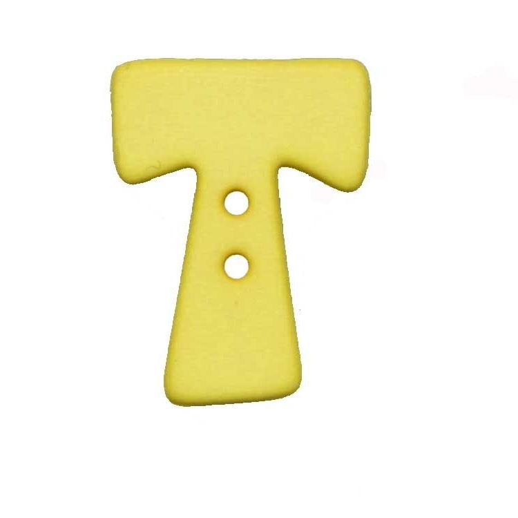 Buchstabenknopf, T, gelb