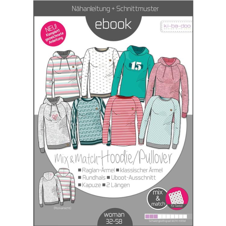 7d960eff87 E-Book Ki-Ba-Doo Sweater Hoodie Mix & Match Damen   Stoffe Hemmers