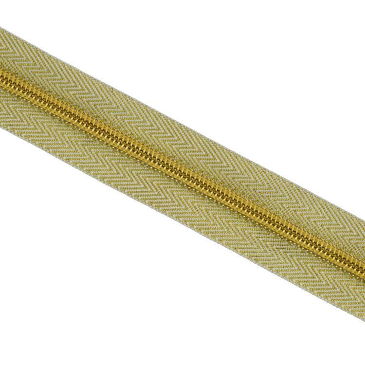 Zipper by the metre lurex, golden