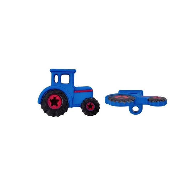 Blauer Traktor als Ösenknopf