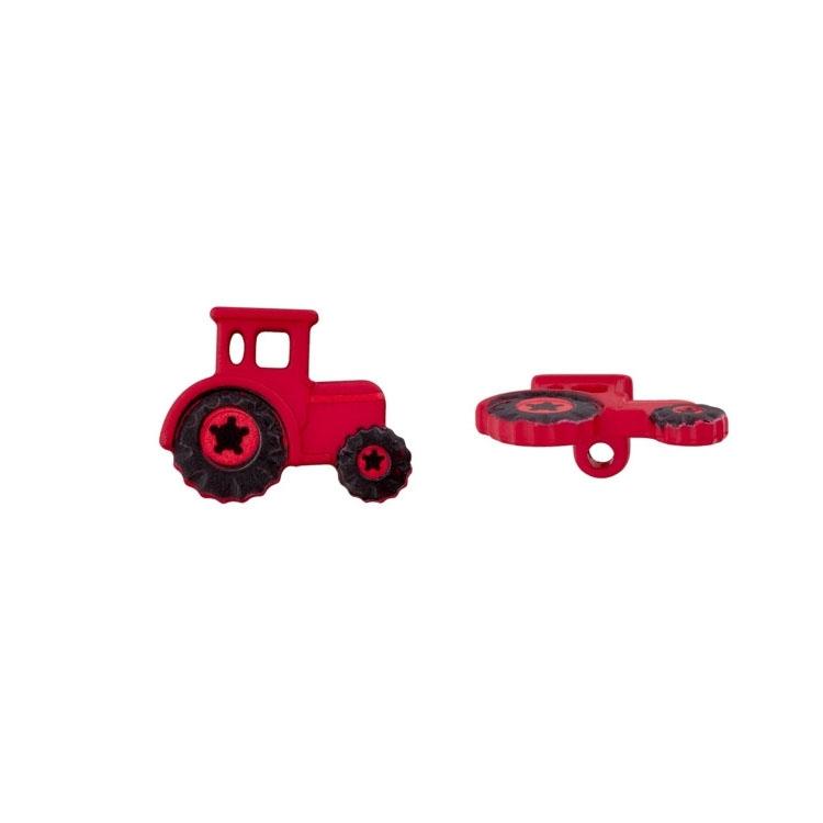 Dunkelroter Traktor-Ösenknopf