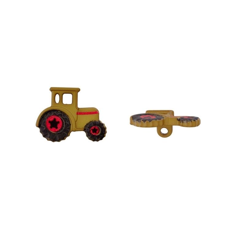 Grüner Ösenknopf 'Traktor'
