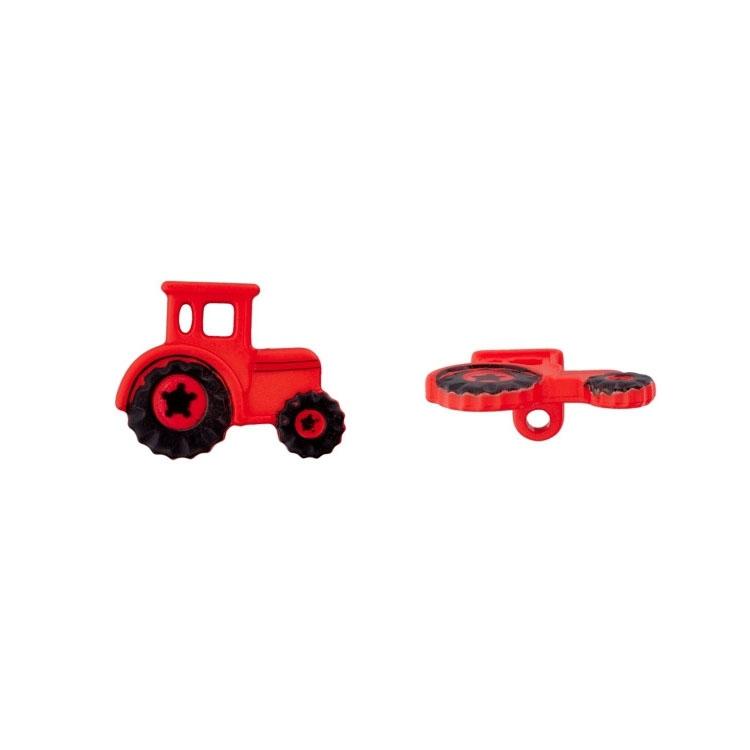 Roter Kinderknopf 'Traktor'