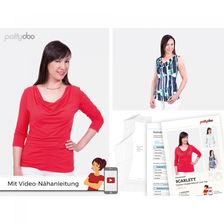 patroon blouse met watervalhals