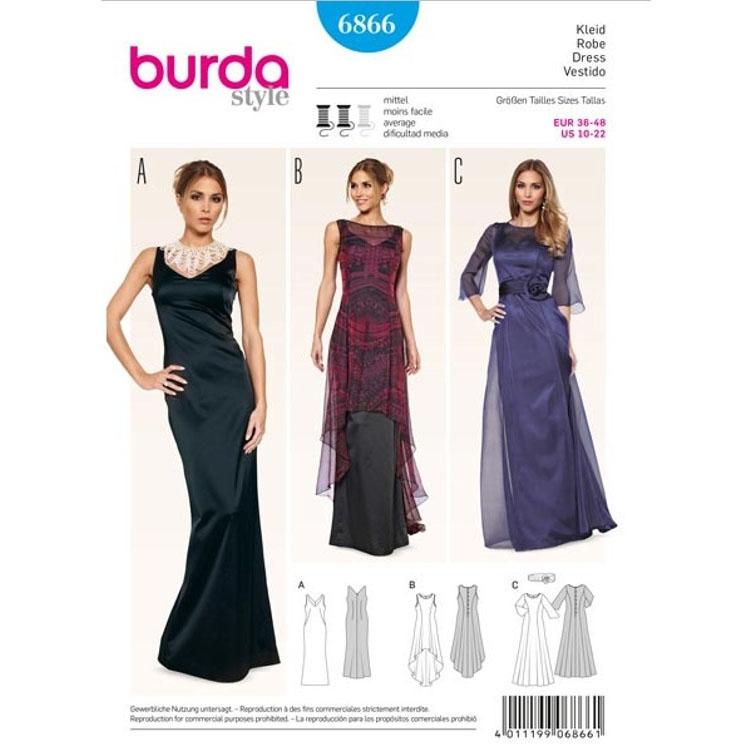 Schnittmuster Abendkleid – Überkleid – transparent, Burda 6866 ...