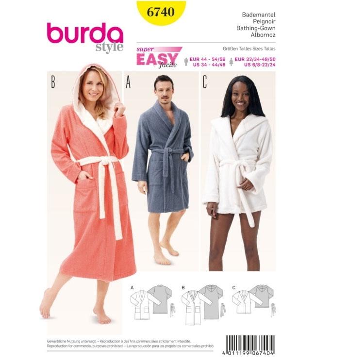 Sewing pattern Burda 6740, bathrobe | Fabrics Hemmers