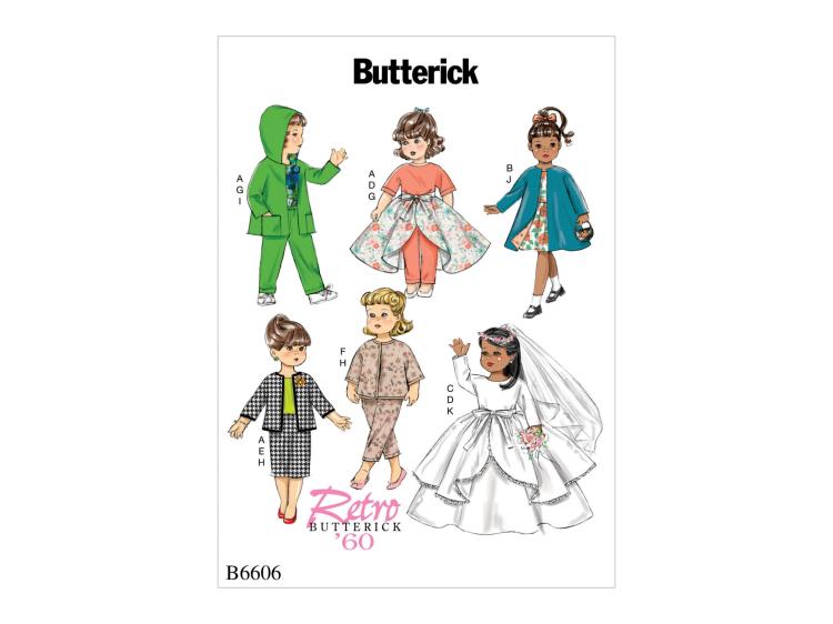 Schnittmuster Butterick 6606 Puppenkleidung | Stoffe Hemmers