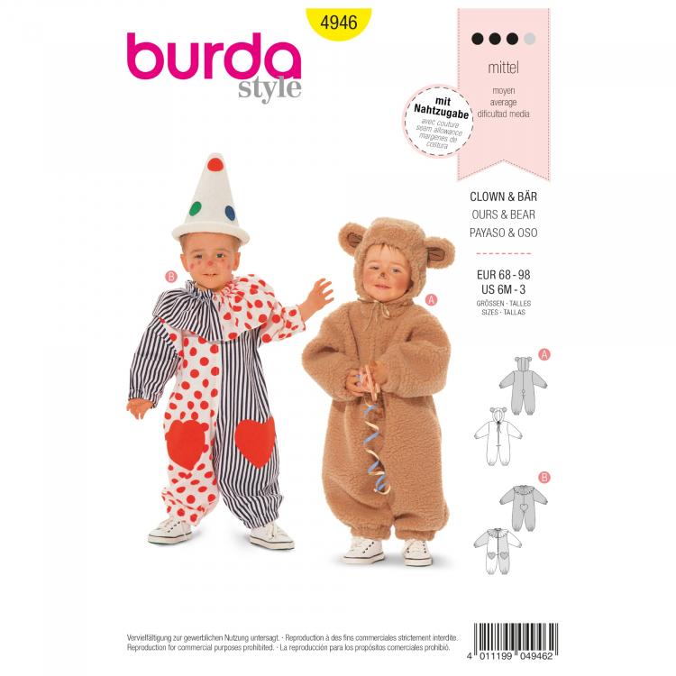 Schnittmuster Clown und Bär, Burda 4946 | Stoffe Hemmers