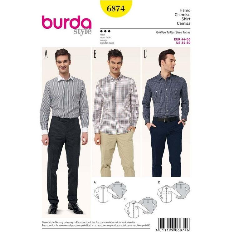 Schnittmuster Herrenhemd – verschiedene Kragen, Burda 6874 | Stoffe ...