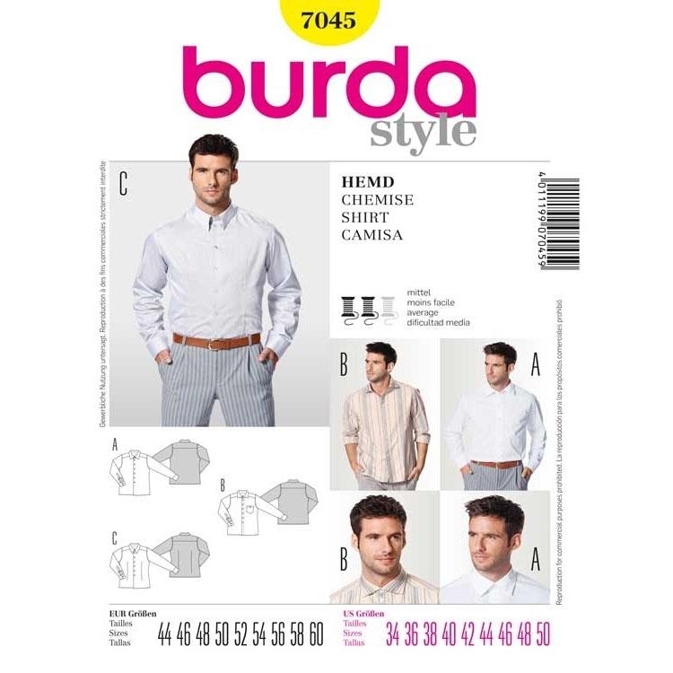 Schnittmuster Herrenhemd, verschiedene Kragenarten, Burda 7045 ...