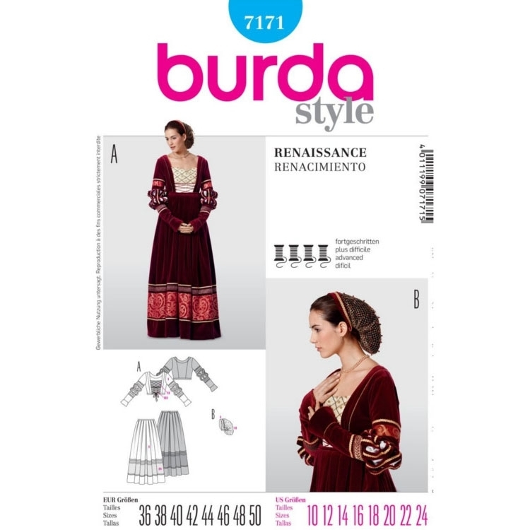 Schnittmuster Historisches Kleid, Burda 7171 | Stoffe Hemmers