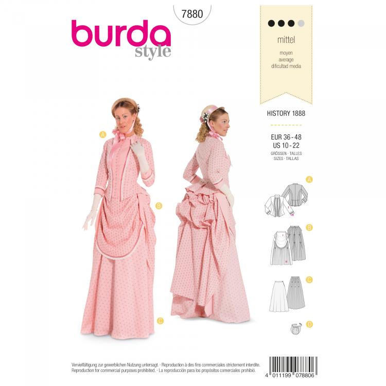 Schnittmuster Historisches Kleid, Burda 7880 | Stoffe Hemmers