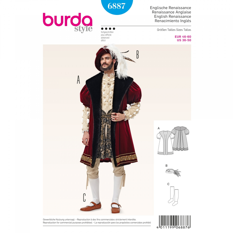 Sewing pattern English Renaissance, Burda 6887 | Fabrics Hemmers