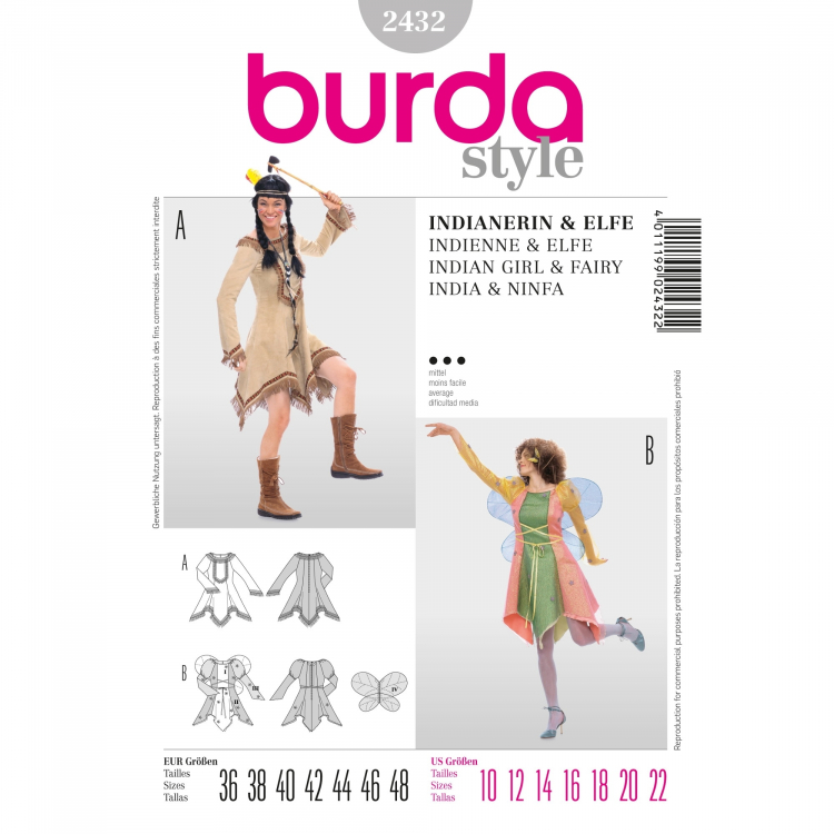 Naaipatroon Burda 2432, kostuum: Indianenvrouw & elf   Stoffen Hemmers