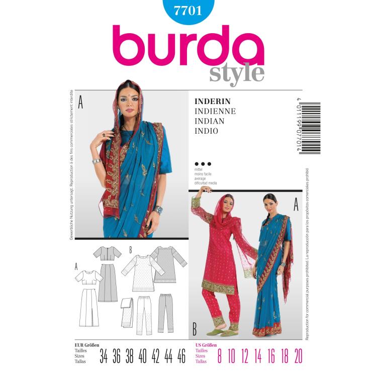 Schnittmuster indisches Kostüm, Burda 7701 | Stoffe Hemmers