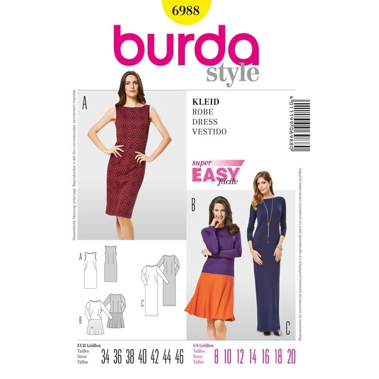 Sewing pattern Jersey Knit Dress, Burda 6988   Fabrics Hemmers