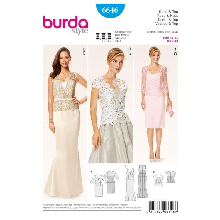 Schnittmuster Kleid & Top, Burda 6646 | Stoffe Hemmers