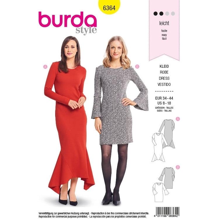 Schnittmuster Kleid, Burda 6364 | Stoffe Hemmers