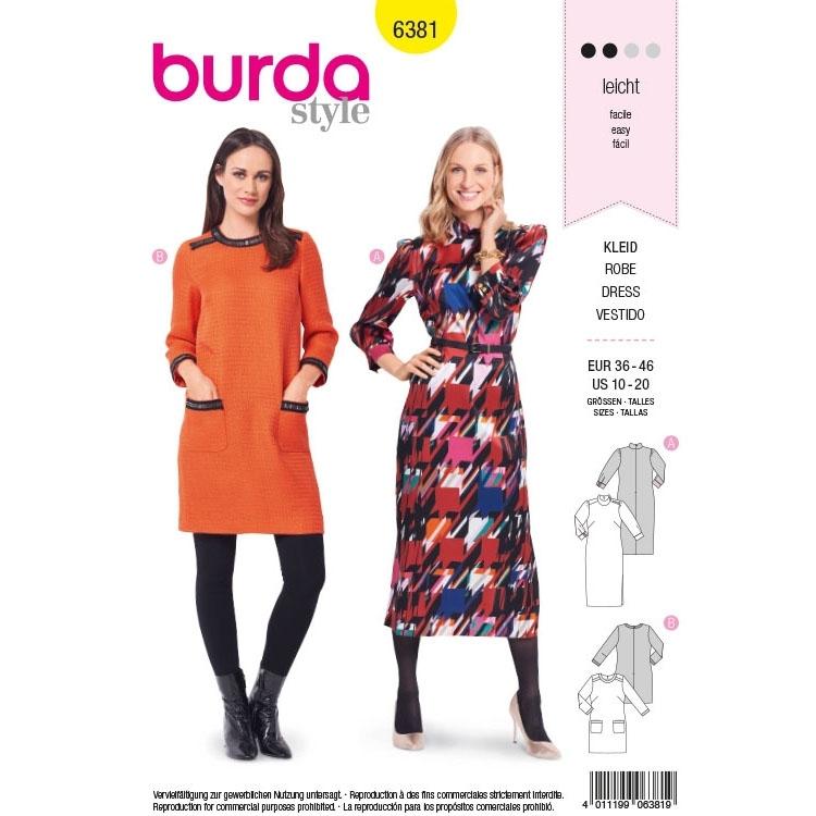 Schnittmuster Kleid, Burda 6381 | Stoffe Hemmers
