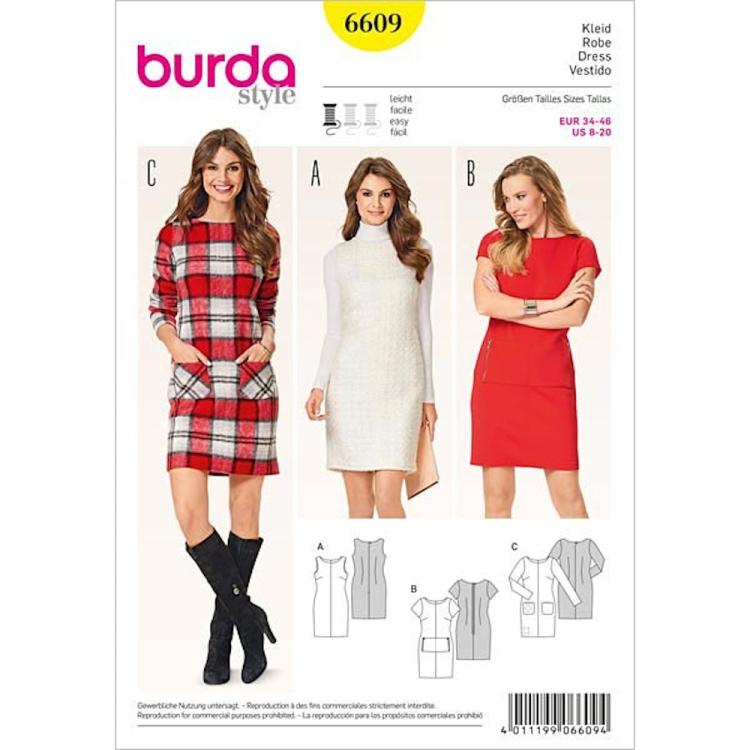 Schnittmuster Kleid, Burda 6609 | Stoffe Hemmers