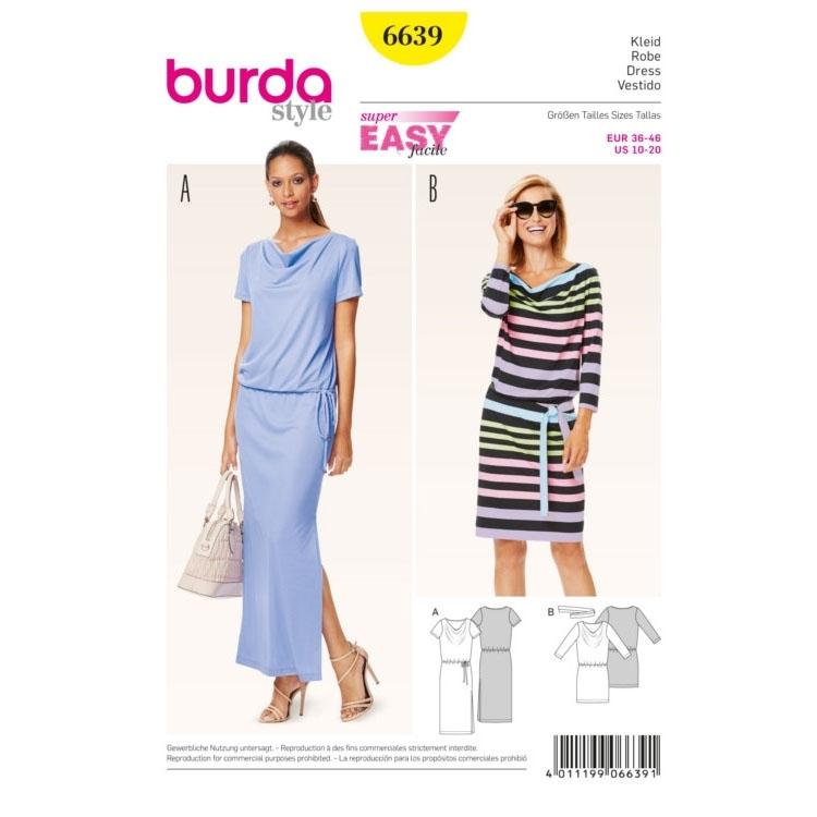 Schnittmuster Kleid, Burda 6639   Stoffe Hemmers