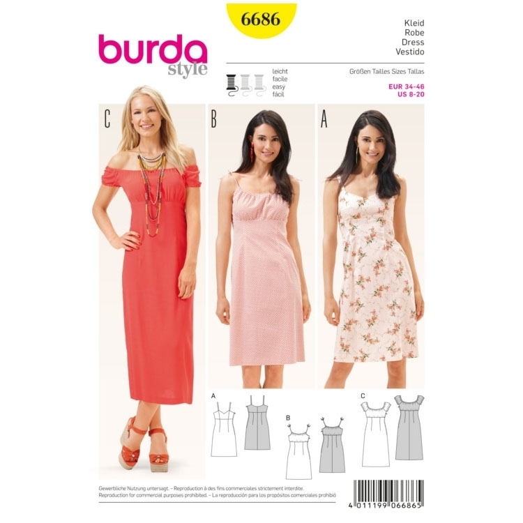 Schnittmuster Kleid, Burda 6686 | Stoffe Hemmers