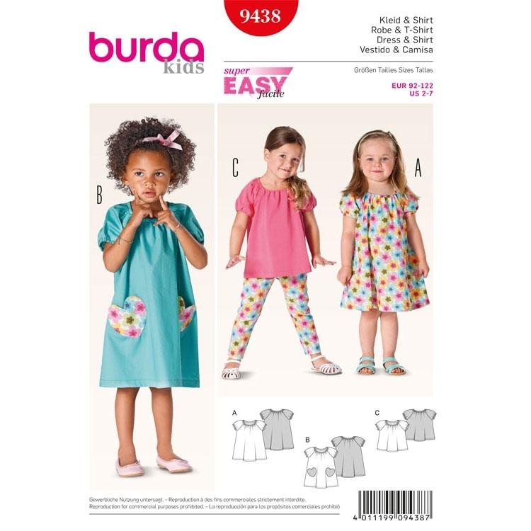 Schnittmuster Kleid, Shirt, Puffärmel, Burda 9438 | Stoffe Hemmers