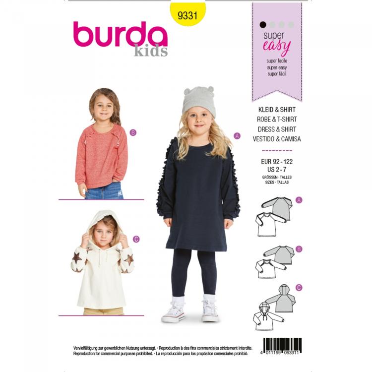 Schnittmuster Kleid, Shirt und Hoodie, Burda 9331 | Stoffe Hemmers