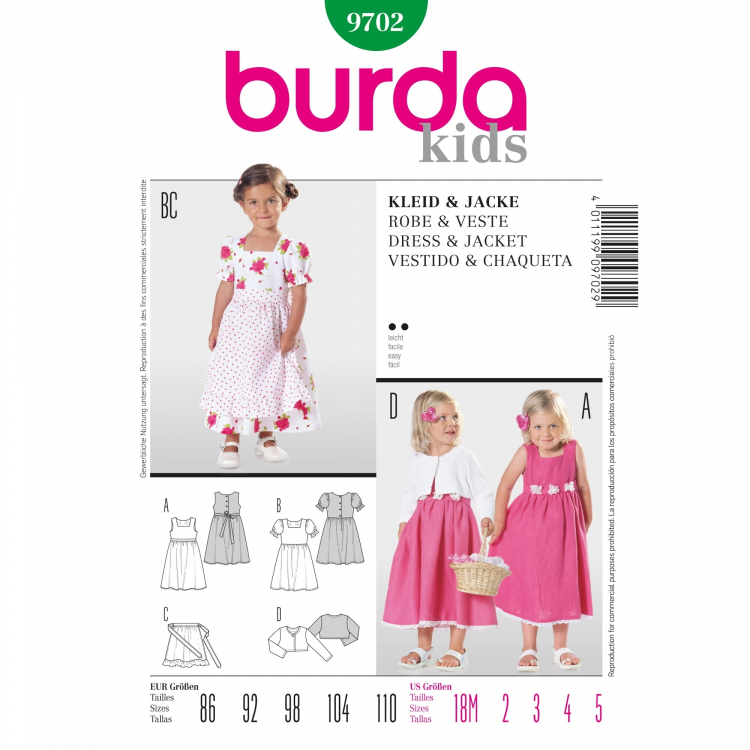 Schnittmuster Kleid und Jacke, Burda 9702   Stoffe Hemmers