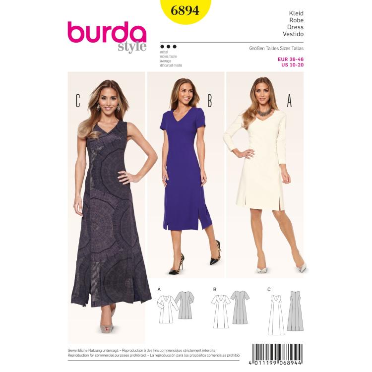 Schnittmuster Kleid–Teilungsnähte–V-Ausschnitt, Burda 6894 | Stoffe ...