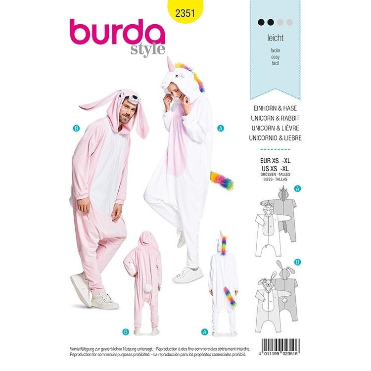 Schnittmuster Kostüm Einhorn und Hase, Burda 2351 | Stoffe Hemmers