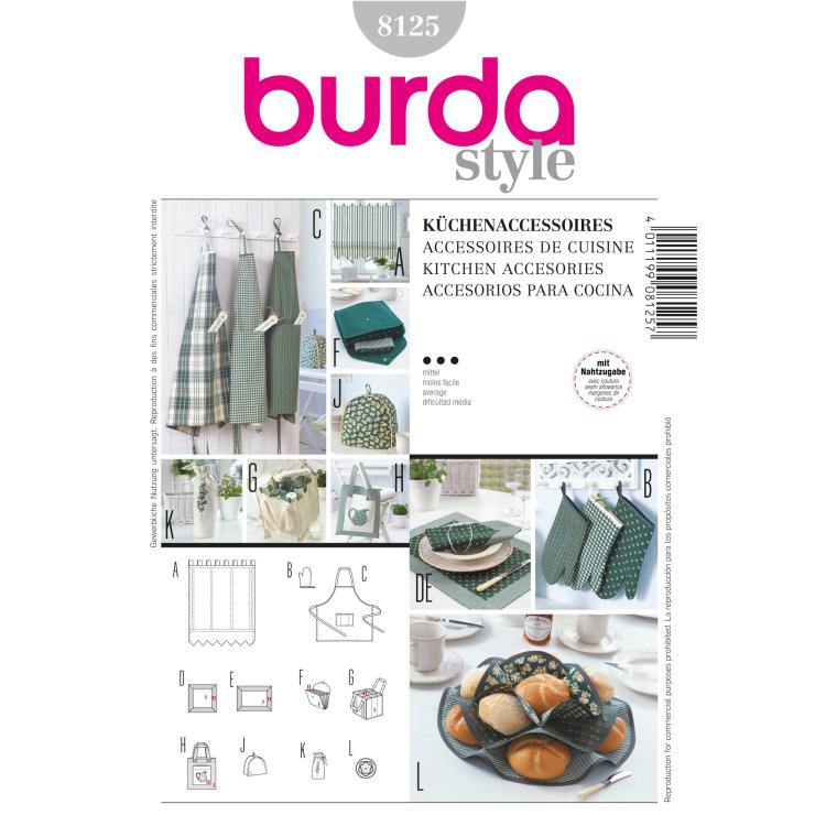Schnittmuster Küchen- Accessoires, Burda 8125 | Stoffe Hemmers